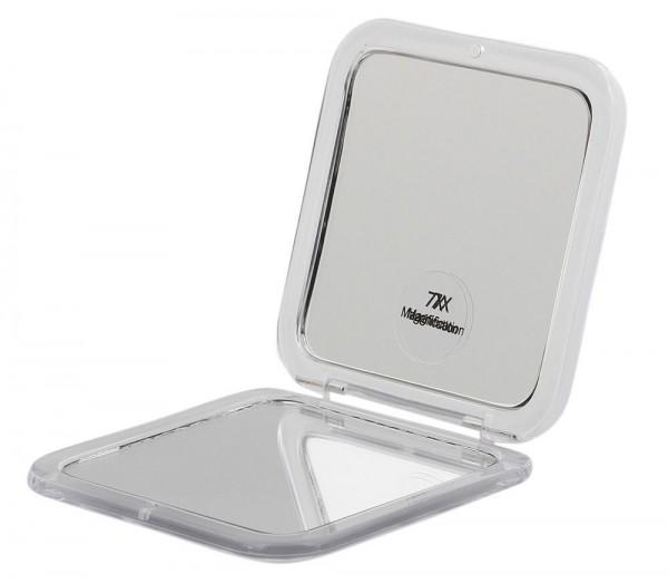 Taschen-Spiegel Weiß Acryl Kosmetex mit 7-fach Vergrößerung und Magnetverschluss, Spiegel 8.5 x 8.5