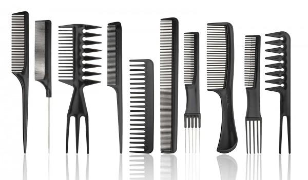 10er Kamm Set, schwarz, professioneller Haarstyling-Kämme
