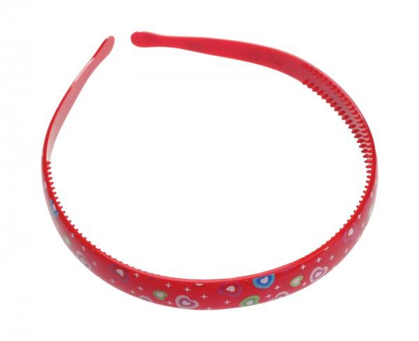 Roter Haarreif mit bunten Herzen, 1,5 cm