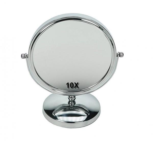 Stand-Spiegel 24 cm mit 10-fach Vergrößerung, Metall, 2 Spiegelflächen RS 1-fach, Kosmetik-Spiegel