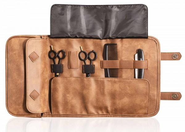 Barber Tragbare Scherentasche, braun, Faltbare Friseur Handtasche