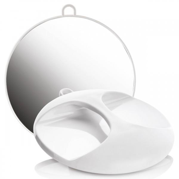 Friseur-Spiegel Weiß, Salon Handspiegel m. Öse, rund Ø 29 cm