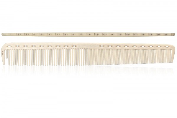 Haarschneidekamm, Frisieurkamm mit integriertem Lineal auf der Oberseite, 21,5 cm, beige