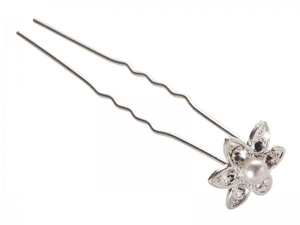 Blütenförmige Haarnadel mit Perle und Zirkon, Haar-Styling-Accessoires