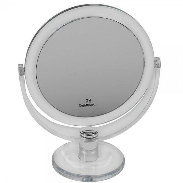 Standspiegel mit 7-fach Vergrößerung, Acrylglas, 2 Spiegelflächen, Kosmetik-Spiegel