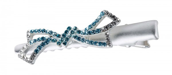 Kleine Schnabelspange / Haarklemme mit Steinbesatz in Blau-Tönen, Schleife Design
