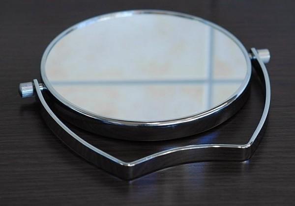 Zweiseitiger Kosmetik-Spiegel, Silber Stellspiegel 7-fach Vergrößerung, RS 1-fach, Metall, 360° dreh