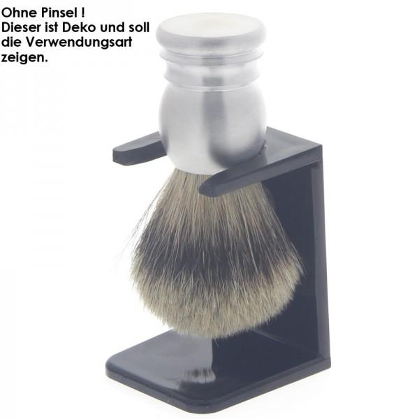 Halter für Rasierpinsel. Aus schwarzem Kunststoff Stehend, geklebt oder geschraubt verwendbar