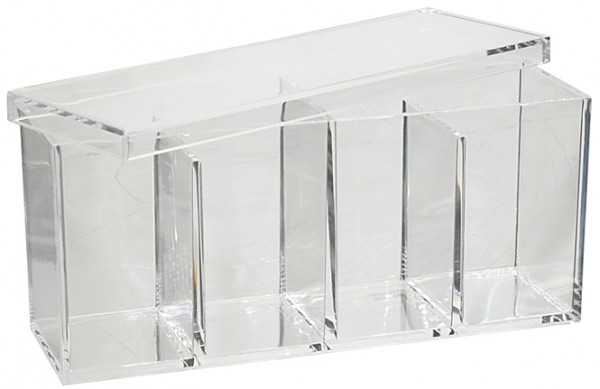 Wattepadspender, Großer Kosmetik Acryl Behälter Box mit Deckel, 4 Fächer