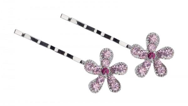 2 St. Blütenförmige Haarschieber-Set mit rosa Zirkonen, Haarnadeln