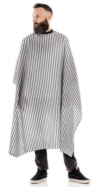 Männer Haarschneideumhang, schwarz/weiß gestreift