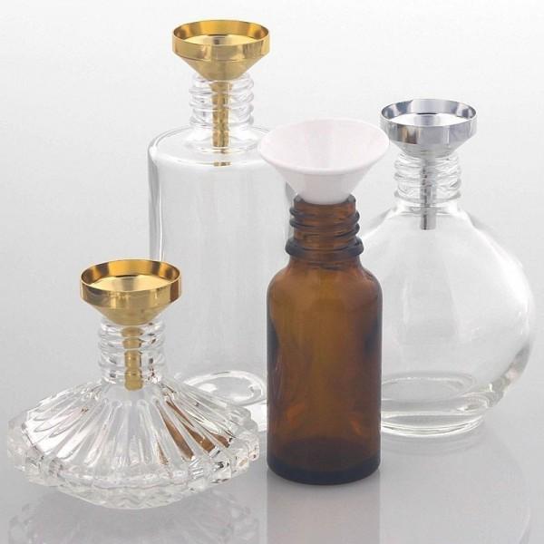 Mini Metall Silber Parfümtrichter Kosmetex, kleiner Trichter 3 cm zum umfüllen