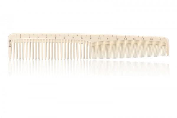 Haarschneidekamm, Frisieurkamm mit integriertem Lineal, 18,5 cm, beige