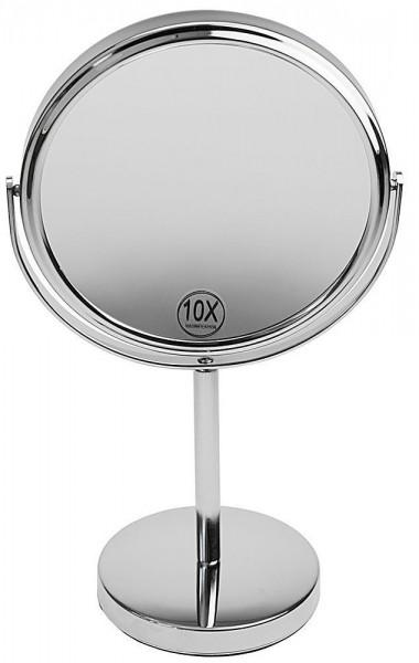 Stand-Spiegel mit 10-fach Vergrößerung, Metall, 2 Spiegelflächen, Kosmetik-Spiegel