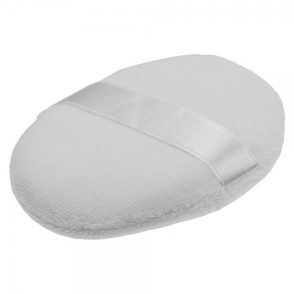 Weiche Puderquaste Gewebe mit Band weiß, Ø ca. 7cm, zum Auftragen von Puder Make-Up