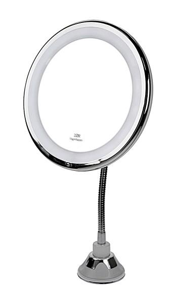 Spiegel mit Kugelgelenk, mit 10 fach Vergrößerung, LED Beleuchtung und Saugnapf. Ø 17,5 cm