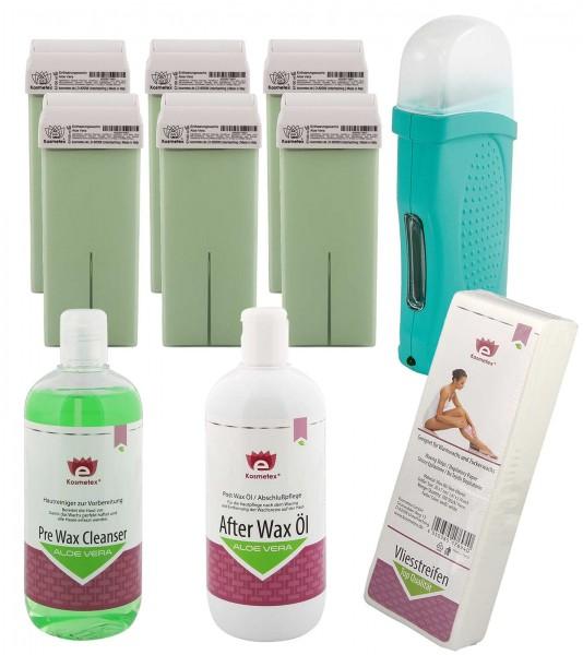 6x Wachs-Patronen Aloe Vera Kosmetex, Erhitzer Set, Reiniger, After Wax und 100x Vliesstreifen