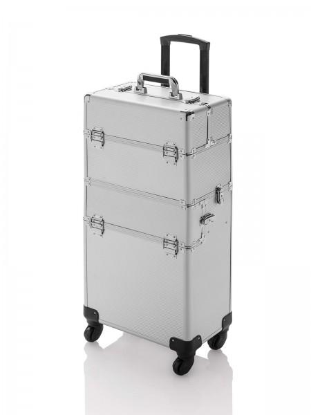 Hart-Friseurkoffer mit Rädern, Friseur Werkzeugkoffer, Trolley Expert, silber