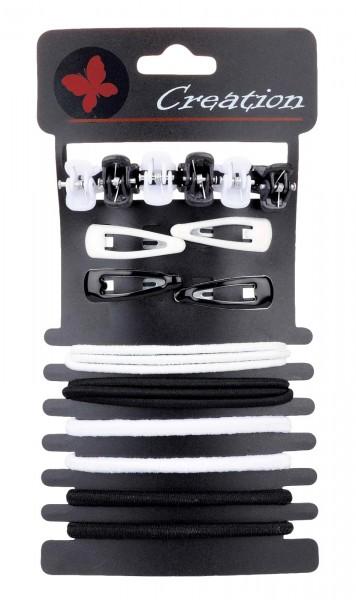 20-teilig Haarspangen und Haargummis Set, schwarz-weiß
