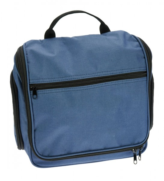 Kulturtasche Blau, Hängetasche aus Nylon hat 6 Reißverschlußfächer in verschiedenen Größen