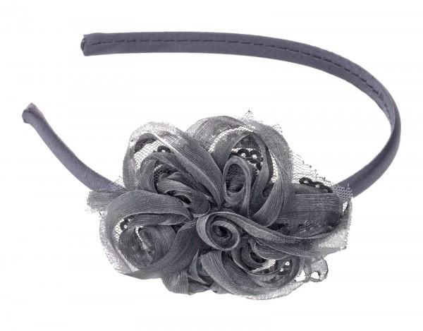 Elegantes Haarreif mit Blumenapplikationen aus Spitze mit Pailletten, grau
