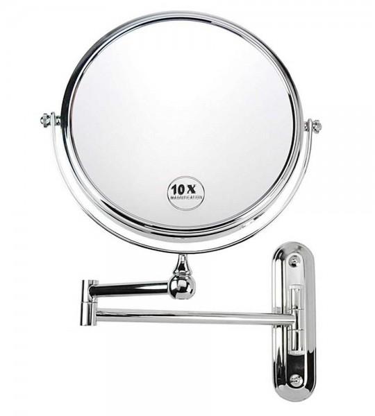 Wand-Spiegel mit 10-fach Vergrößerung, Metall, 2 Spiegelflächen, Kosmetik-Spiegel, Rasier-Spiegel