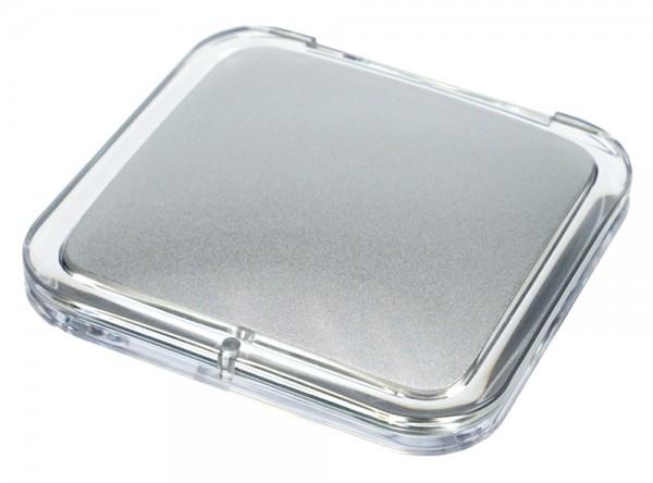Taschen-Spiegel eckig Acryl/Silber mit 15-fach Vergrößerung und Magnetverschluss, Spiegel 8.5 x 8.5