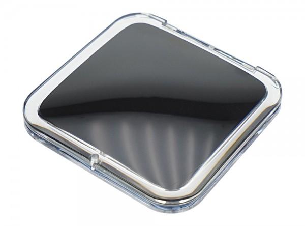 Taschen-Spiegel eckig Acryl/Anthrazit mit 15-fach Vergrößerung und Magnetverschluss, Spiegel 8.5 x 8