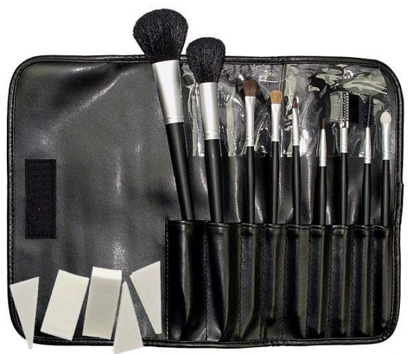 9 Kosmetik Pinsel, Kosmetikpinsel Set Puderpinsel. Pinselset mit Tasche, Kunstleder